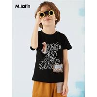 【6折价:161.4元】马拉丁童装男童短袖T恤夏装新款趣味印花儿童洋气小圆领T恤