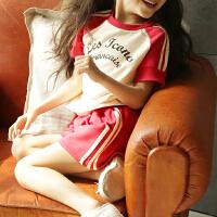 女童运动套装夏装中大童短袖T恤短裤字母儿童休闲两件套