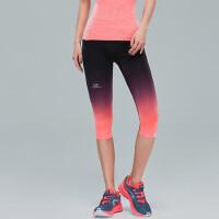 户外运动健身裤女 弹力紧身瑜伽提臀薄款七分裤跑步训练运动裤