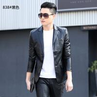 春秋男士真皮皮衣韩版短款修身青年帅气商务休闲皮西装小外套 838#黑色 M
