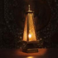 台灯 泰国风格色竹编灯 卧室床头灯仿古创意桌灯灯具灯饰 现货 按钮开关