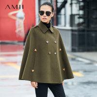 Amii[极简主义]军旅风 100%羊毛双面毛呢外套女 2017冬装宽松大衣