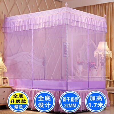 蚊帐拉链三开门方顶有底加密全底坐床式双人家用1.5/1.8m1.2米床   【1】三开门设计 高度1米7 给您宽大的空间与自由【2】帐纱网眼加密加柔 防止蚊