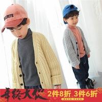 男童毛衣开衫冬季2017新款韩版儿童外套厚针织衫冬装V领毛线衣白