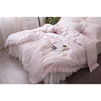 家纺法式公主风60支贡缎长绒棉刺绣粉色四件套 水溶蕾丝花边床上用品 玫瑰红色