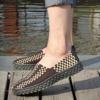 夏天女生帆布鞋女士透气编织鞋套脚镂空平底女鞋情侣一脚套懒人蹬