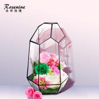 ????进口永生花礼盒diy玻璃罩玫瑰花七夕情人节生日礼物老婆 喜迎国庆