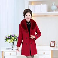 中老年女装春秋装羊毛呢外套妈妈装冬装中年呢子羊绒大衣真毛领