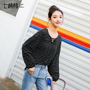 七格格复古港味V领t恤女chic上衣2018新款女装春装韩版条纹宽松打底衫