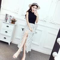 套装女夏韩版新款时尚洋气俏皮针织百搭背心+可爱圆点长款半身裙 均码