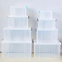 透明收纳箱 塑料箱子储物箱收纳盒衣服整理箱大号有盖衣物收纳框 加厚高透明