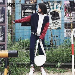 【618大促 每满100减50】七格格 运动衣服套装女初秋季天2017新款韩版宽松时尚潮学生休闲两件套