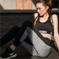 性感修身瑜伽服套装女夏季健身房跑步运动背心文胸透气哈伦裤 文胸+哈伦裤