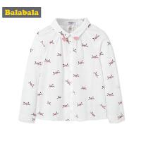 巴拉巴拉女童衬衫秋装2018新款中大童儿童衬衣长袖时尚优雅印花女