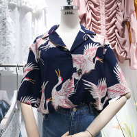 韩国ulzzang2018春装新款宽松印花图案西装领衬衫宽松五分袖衬衣