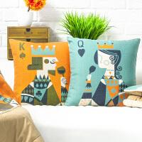 扑克情侣抱枕被子两用客厅沙发靠垫棉麻汽车靠枕一对枕头被