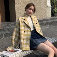 [直降]唐狮冬装新款小个子仿毛呢外套女格纹西装领韩版秋冬季网红风