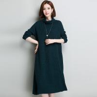 长款高领女式毛衣裙 2017冬季新品针织打底裙 高领厚款女式毛衣