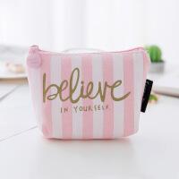 新款可爱粉色帆布零钱包手拿零钱收纳包创意硬币包