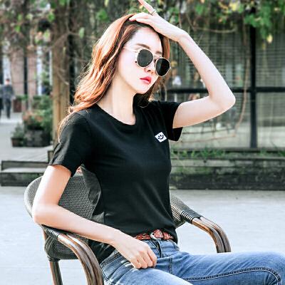 夏季纯色短袖t恤女新款棉质韩版修身打底半袖体恤衫刺绣潮上衣