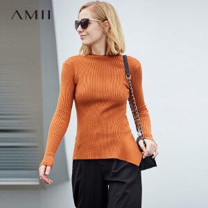 【品牌团 1件7折/2件5折】Amii[极简主义]包芯纱毛衣女2017冬季新款条纹不规则针织显瘦上衣