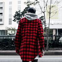 春秋英伦男士红格子拉链装饰长袖衬衫韩版潮男不规则下摆翻领衬衣