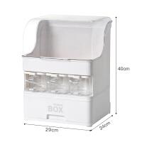 调料盒子厨房用品大全置物架整理箱带盖调料瓶收纳架抽屉式收纳盒 白色
