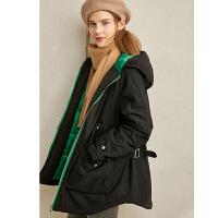 【券后�A估�r:238元】Amii�O�港�L�r尚�B帽棉衣外套2020冬季新款中�L款��松插肩袖外套