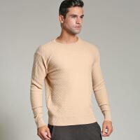 17秋冬新款加厚男士羊绒衫圆领羊绒衫扭花毛衣针织衫个性修身前卫