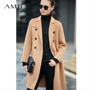 Amii[极简主义]秋冬双排扣小个子中长款100%羊毛呢双面大衣外套女