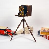 摄影机模型摆件 复古铁皮三脚架相机模型 老式影楼照相机模型饰品
