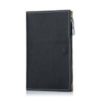 护照包多功能证件袋 男女士出国旅行钱包卡包拉链超薄机票夹SN9188 黑色 真皮送护照套