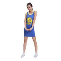 运动服饰新款女生球衣性感修身背心连衣裙篮球服球服勇士库里30号蓝色白色休闲连衣裙