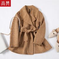 【1件3折 到手价:219元】高梵女士短款赫本风羊毛呢双面呢大衣反击外套
