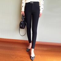 休闲弹力紧身黑色小脚裤高腰显瘦铅笔裤女春秋加绒打底裤外穿 2X
