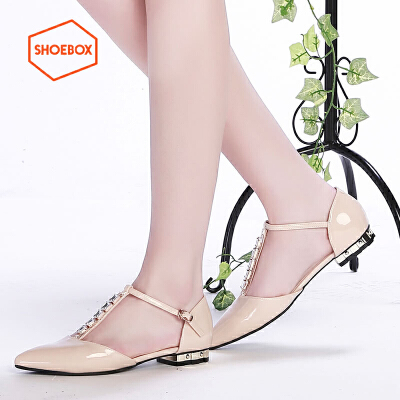 达芙妮旗下SHOEBOX/鞋柜春季休闲浅口单鞋 韩版尖头平跟女鞋