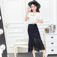 女装2018新款潮蕾丝上衣+性感包臀不规则半身裙俏皮套装女两件套