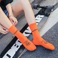 袜子女中筒袜棉韩国时尚中筒袜糖果色潮嘻哈袜子街头网红韩版堆堆长袜