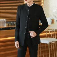 中山装男青年套装修身立领中国风男士唐装西服三件套西装中式礼服 4X