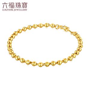 六福珠宝足金手链女款光面路路通黄金转运珠手链 B01TBGB0030