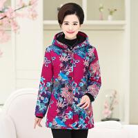 妈妈棉袄女冬装外套女40-50岁加绒加厚中老年长款花色60奶奶衣服