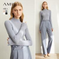 【预估价108元】Amii极简洋气复古半高领毛衣女2019秋装新款修身喇叭袖针织打底衫