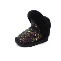 儿童雪地靴女童加绒亮片棉靴子宝宝冬鞋冬季新款公主鞋