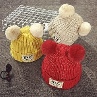 儿童毛线帽冬天加绒加厚保暖护耳女童针织帽秋宝宝帽子1-2-4岁潮