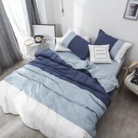 家纺32支简约全棉纯色四件套裸睡北欧风水洗棉单双人拼色刺绣床上用品