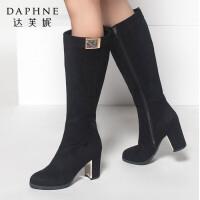 达芙妮正品女鞋秋冬季粗跟高跟鞋女高筒靴子金属休闲时尚长筒靴