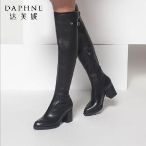 达芙妮长筒靴女鞋秋冬时尚粗跟靴子休闲长靴侧拉链高筒长筒骑士靴