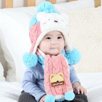 婴儿帽子秋冬季6-12个月韩版儿童1-2岁公主加绒护耳男女宝宝帽子