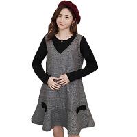 慈颜秋冬款加绒假两件孕妇裙长袖打底外穿连衣裙时尚YIFEI8892
