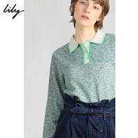 【不打烊价:309元】 Lily2019冬新款女装撞色荧光POLO领罗纹打底长袖毛针织衫8E19